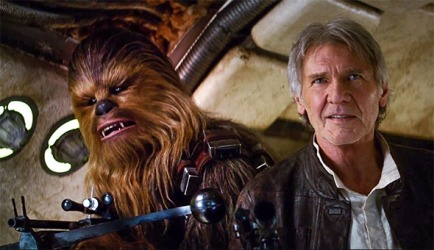 Chewbacca and Han Solo in a still from the Star Wars: The Force Awakens trailer.