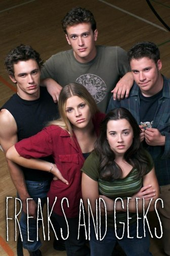 "James Franco, Jason Segel, Seth Rogen, Linda Cardellini and Busy Philipps (clockwise from left) in ""Freaks and Geeks"""